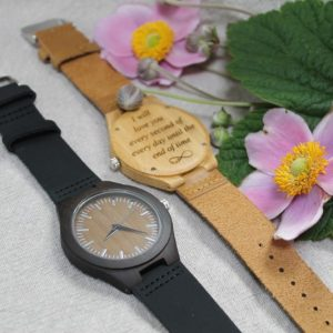 PERSONALISED WOODEN LEATHER WATCH UNISEX