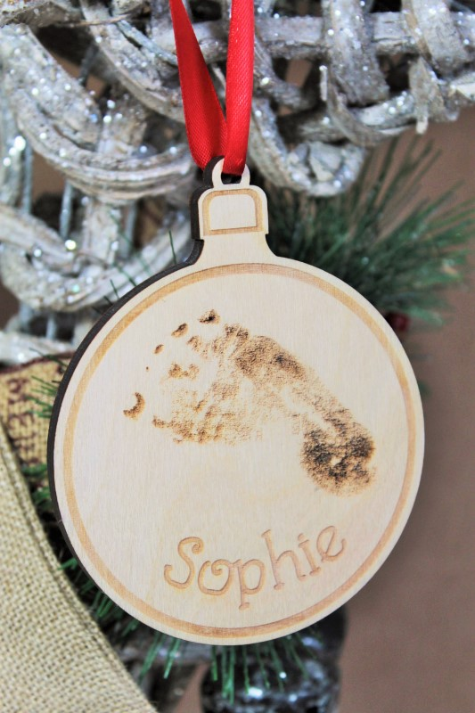 HAND OR FOOT PRINT CHRISTMAS BAUBLE