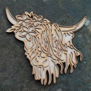HIGHLAND COW STENCIL PLAQUE