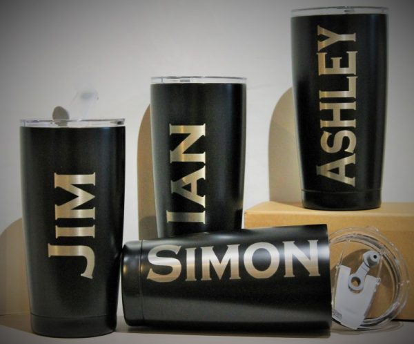 Matt Black Personalised Travel Tumbler with Lid